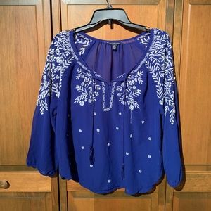 Royal Blue Peasant Top